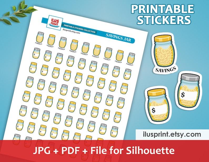 image relating to Savings Jar Printable called Discounts JAR Printable Stickers Preserving Monetary Stickers Planner Printable Stickers