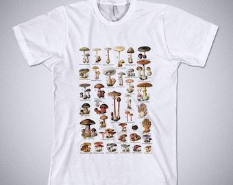 MUSHROOMS Illustration shirt, Nature tshirt, Vintage mushrooms print, fungi, botanical shirt, mushroom shirt, vintage graphic, Champignons