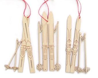 Ski Ornaments, set of 3