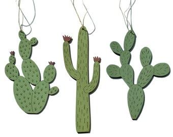 Cacti Ornaments, set of 3
