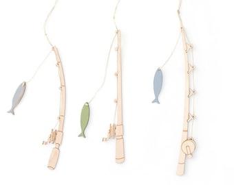 Fishing Pole Ornaments, set of 3