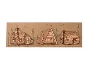 Cabin in the Wood Magnets- set of 3