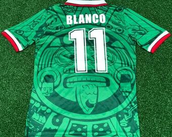 5fb8c2355 mexico blanco 1998 world cup classic football shirts retro soccer jersey  vintage football shirt classic football shirts
