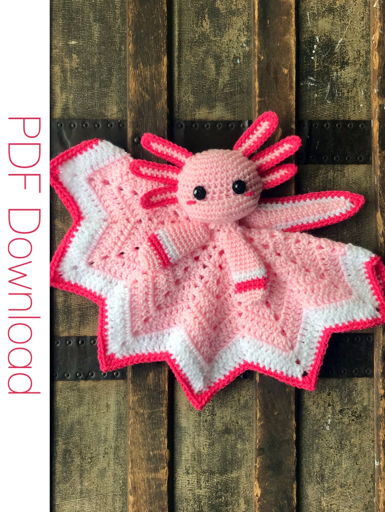 Azolla the Axolotl Lovey crochet pattern  PDF Instant image 0