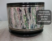 Ceramic Planter Pot Black Green Pink with drainage Handmade One of a kind Container Unique Lava Cells Plants Large