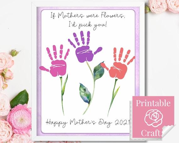 Happy Mother's Day Handprint Flowers Art Handmade