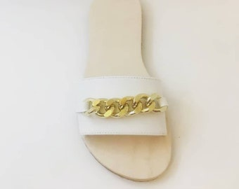 df4d6b123799 White sandals jeweled leather slide summer flat sandals beach party  comfortable shoes unique sandals