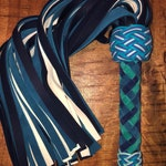 Elk Hide Leather Flogger - Navy, Cerulean, and White