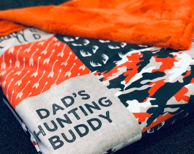 Dad's Hunting Buddy Minky Blankets & Bedding (+ FREE NAME EMBROIDERY)