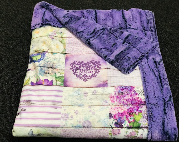 """FREE NAME EMBROIDERY-""""Mom"""" Minky Blankets"""