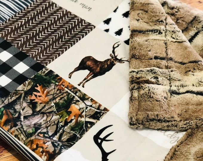 """FREE NAME EMBROIDERY-""""Little Man/Dad's Hunting Buddy"""" Minky Blankets & Bedding"""