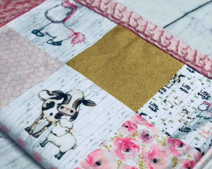 """FREE NAME EMBROIDERY-""""Home Grown"""" Minky Blankets & Bedding"""