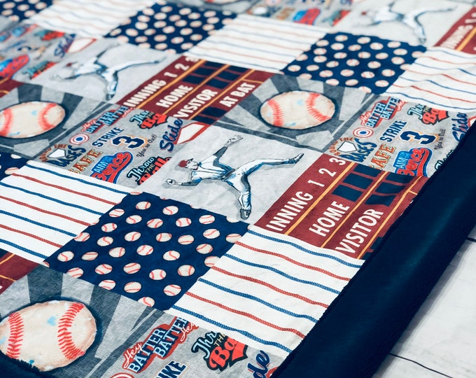"FREE NAME EMBROIDERY-""Baseball"" Minky Blankets & Bedding"