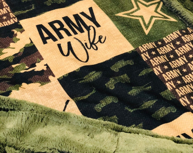 "FREE NAME EMBROIDERY-""Army Wife"" Minky Blankets & Bedding"