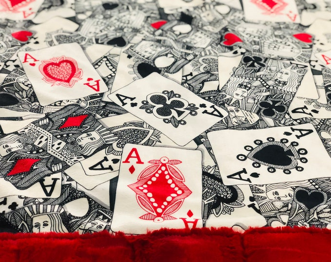 """FREE NAME EMBROIDERY-""""Deck of Cards"""" Minky Blankets & Bedding"""
