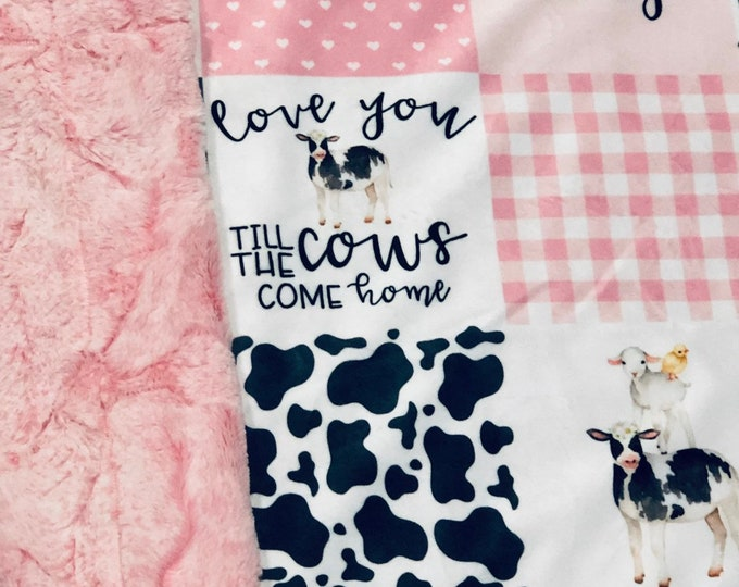 Love You Til The Cows Come Home MINKY Blankets & Bedding (+ FREE NAME Embroidery)
