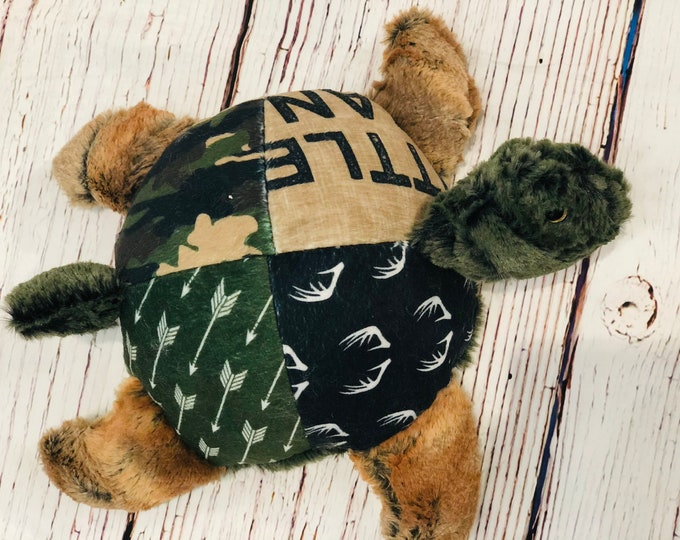 """FREE NAME EMBROIDERY-""""Little Man"""" Camo Themed Minky Turtle Stuffie"""