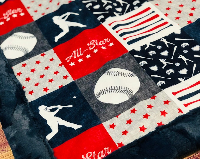 """FREE NAME EMBROIDERY- """"All Star"""" Minky Blankets & Bedding"""