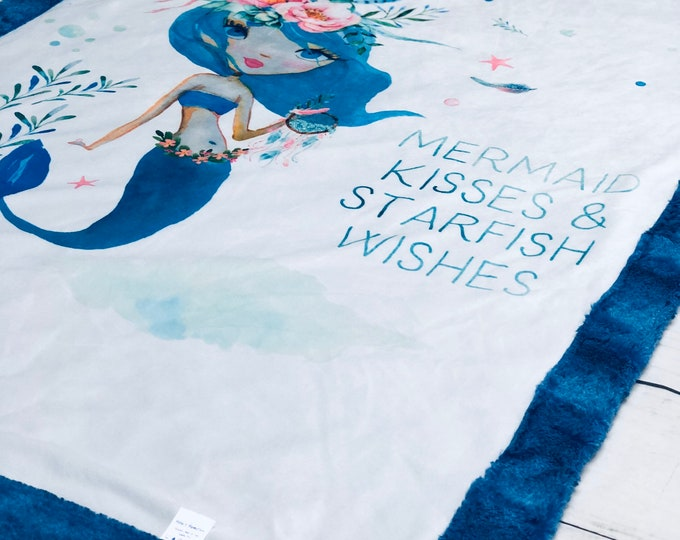 """FREE NAME EMBROIDERY-""""Mermaid"""" Minky Blankets & Bedding"""