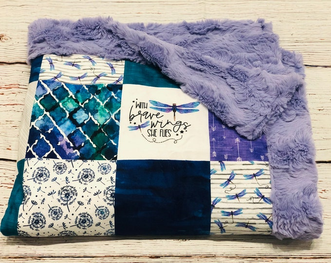 "FREE NAME EMBROIDERY-""Dragonfly"" Minky Blankets & Bedding"