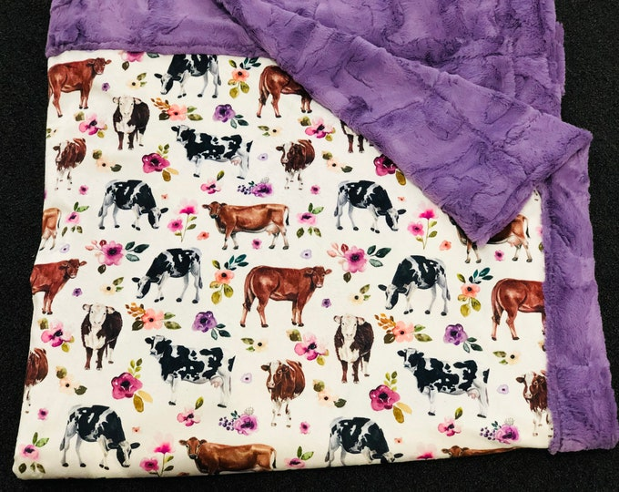 "FREE NAME EMBROIDERY-""Give Me All The Cows"" Minky Blankets & Bedding"
