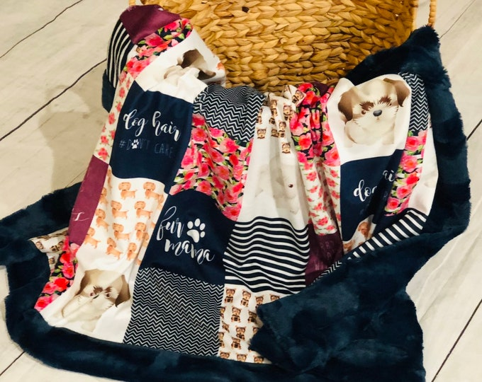 """FREE NAME EMBROIDERY-""""Fur Mama"""" Minky Blankets & Bedding"""