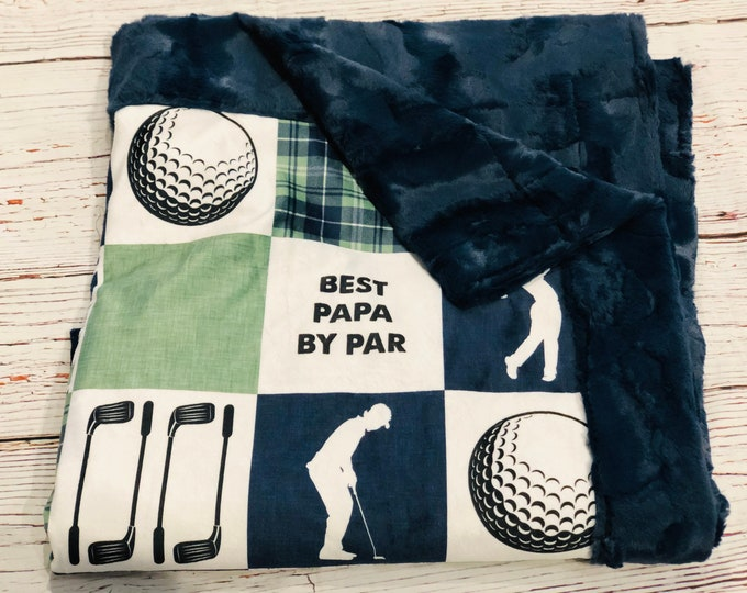 "FREE NAME EMBROIDERY-""Papa Golf""  Minky Blankets & Bedding"