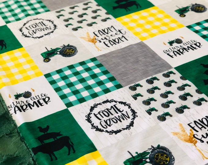 "FREE NAME EMBROIDERY-""Farm Sweet Farm"" Minky Blankets & Bedding"