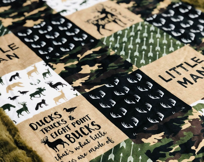 """FREE NAME EMBROIDERY-""""Little Man"""" Camo Minky Blankets & Bedding"""