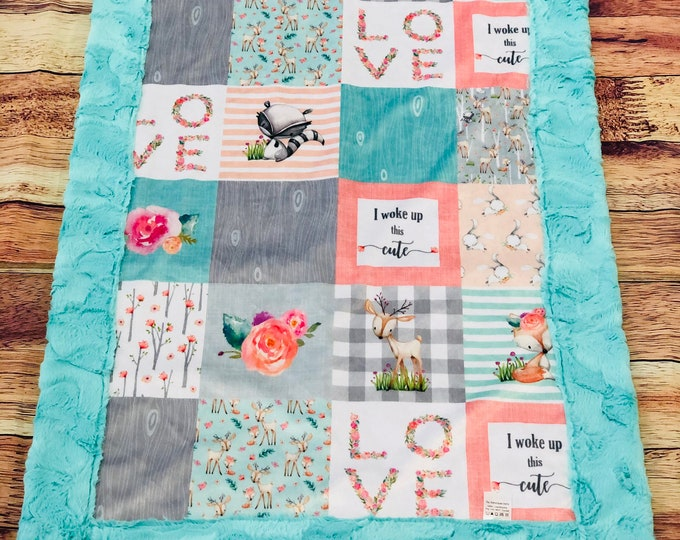 """FREE NAME EMBROIDERY-""""I Woke Up This Cute"""" Minky Blankets & Bedding"""