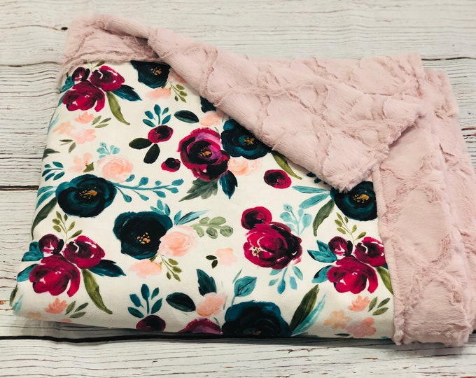 "FREE NAME EMBROIDERY-""Floral"" Themed Minky Blankets & Bedding"