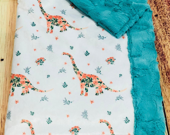 """FREE NAME EMBROIDERY-""""Floral Dinosaur"""" Minky Blankets & Bedding"""