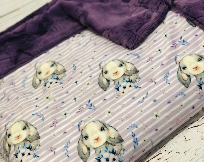 "FREE NAME EMBROIDERY-""Bunny"" Minky Blankets & Bedding"