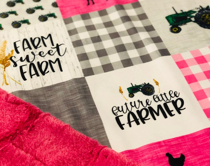 "FREE NAME EMBROIDERY-""Future Farmer"" Minky Blankets & Bedding"