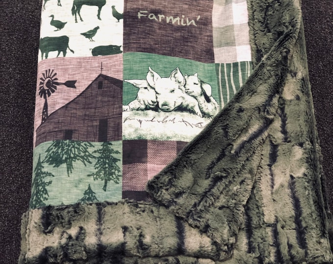 "FREE NAME EMBROIDERY-""Farmin""Minky Blankets & Bedding"