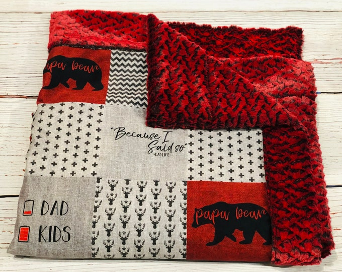 "FREE NAME EMBROIDERY-""Papa Bear"" Minky Blankets & Bedding"