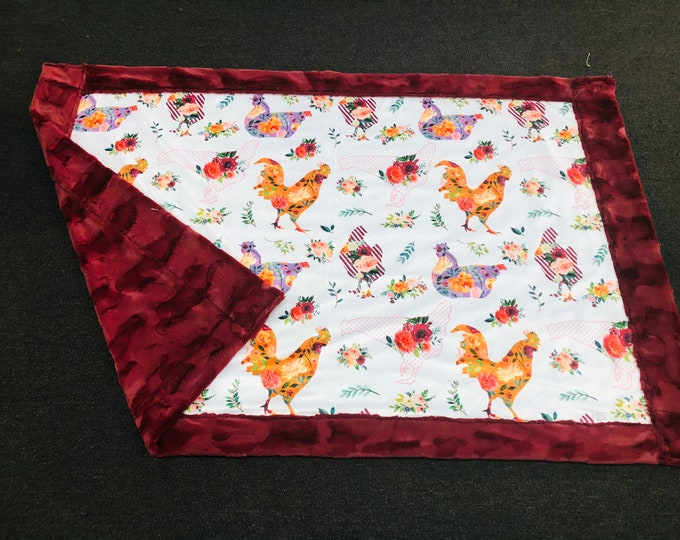 """FREE NAME EMBROIDERY-""""Chickens, Chickens, and Chickens"""" Minky Blankets & Bedding"""