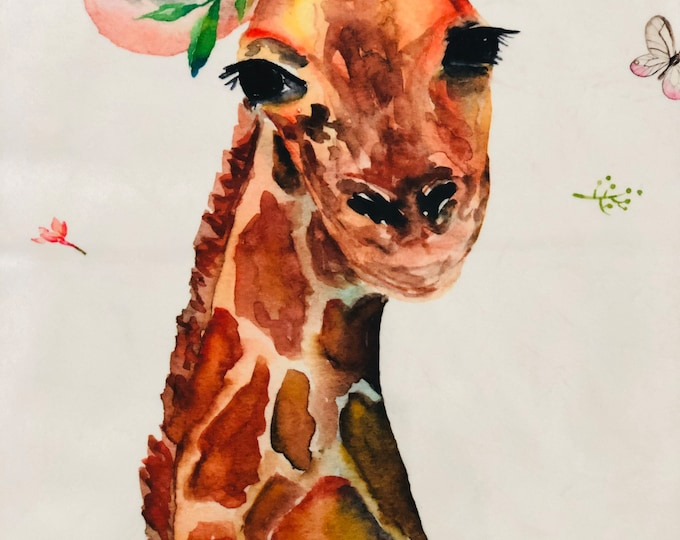 "FREE NAME EMBROIDERY-""Giraffe"" Minky Blankets & Bedding"