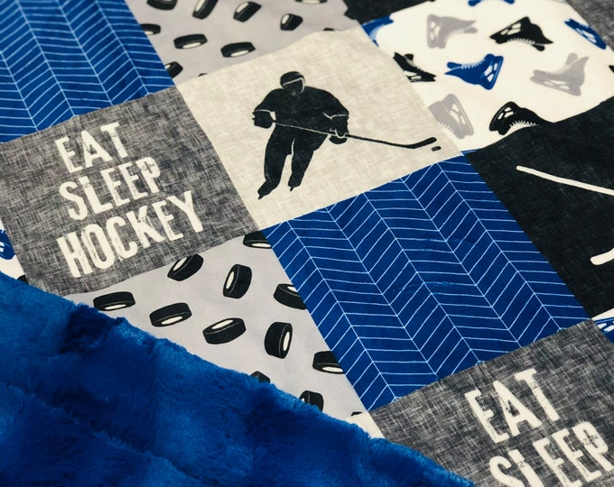 "FREE NAME EMBROIDERY-""Hockey"" Minky Blankets & Bedding"