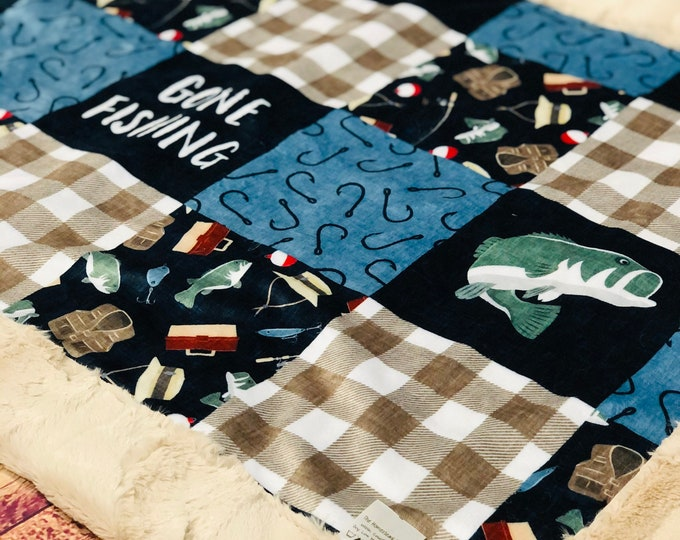 """FREE NAME EMBROIDERY-""""Gone Fishing"""" Minky Blankets & Bedding"""