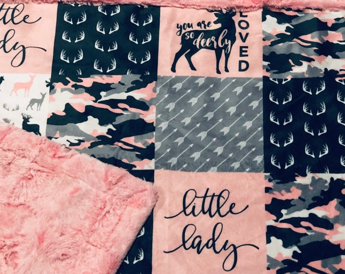 "FREE NAME EMBROIDERY-""Little Lady"" Minky Blankets & Bedding"