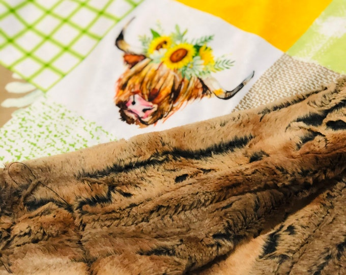 """FREE NAME EMBROIDERY-""""Sunflower Highland Cows"""" Minky Blankets & Bedding"""