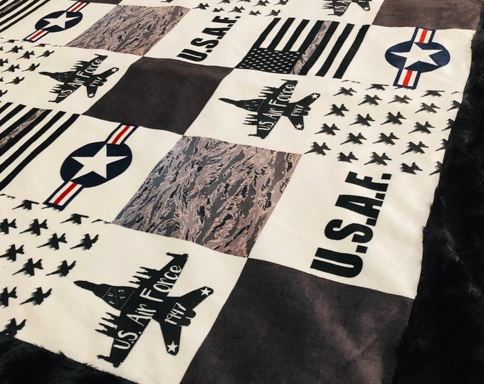 United States Air Force Minky Blankets & Bedding (+ FREE NAME EMBROIDERY)