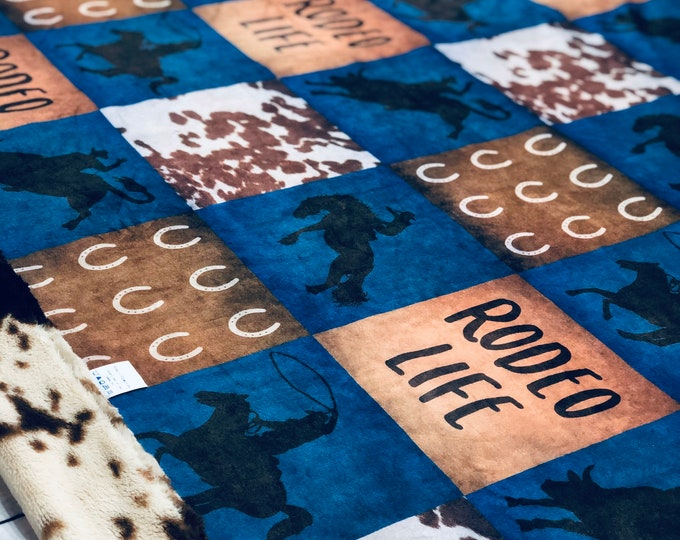 """FREE NAME EMBROIDERY-""""Rodeo Life"""" Minky Blankets & Bedding"""
