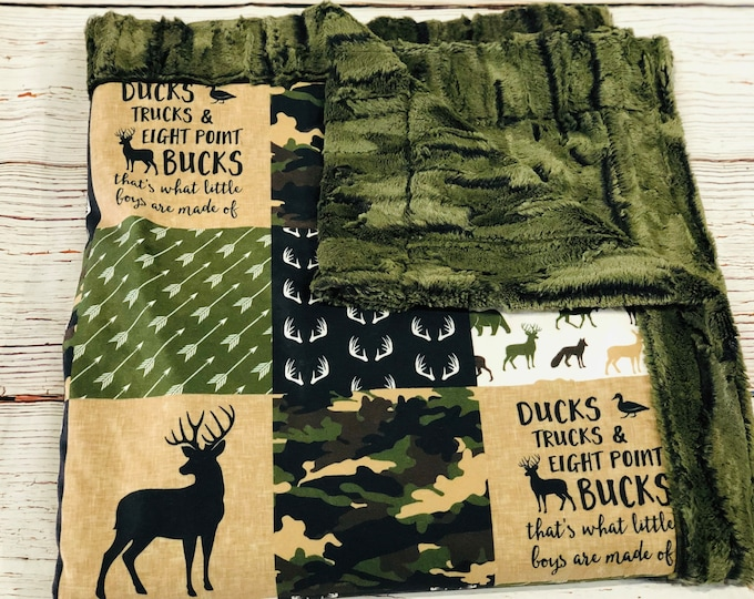 "FREE NAME EMBROIDERY-""Ducks, Trucks, and Eight Point Bucks"" Minky Blankets & Bedding"