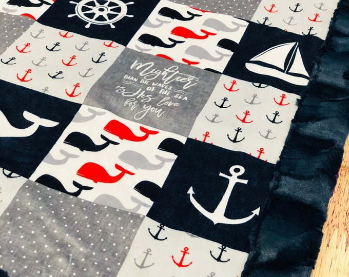 "FREE NAME EMBROIDERY-""Nautical Theme"" Minky Blankets & Bedding"