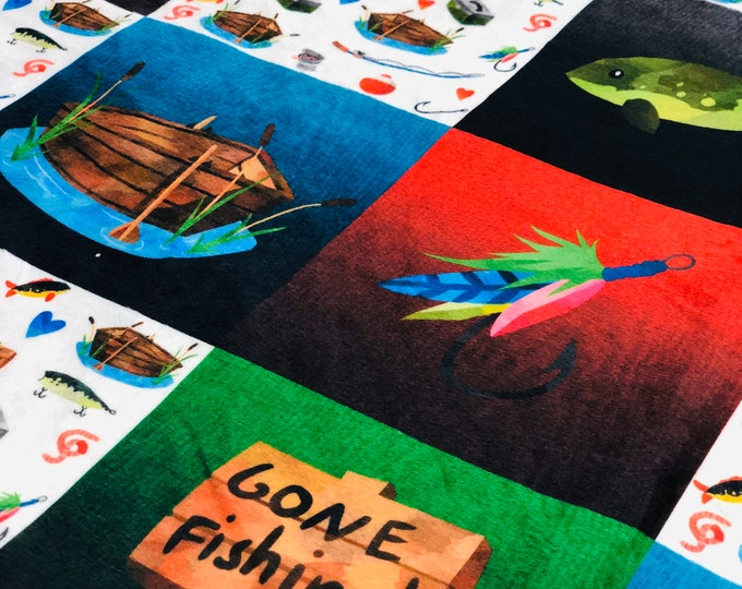"FREE NAME EMBROIDERY-""Gone Fishing"" Minky Blankets & Bedding"
