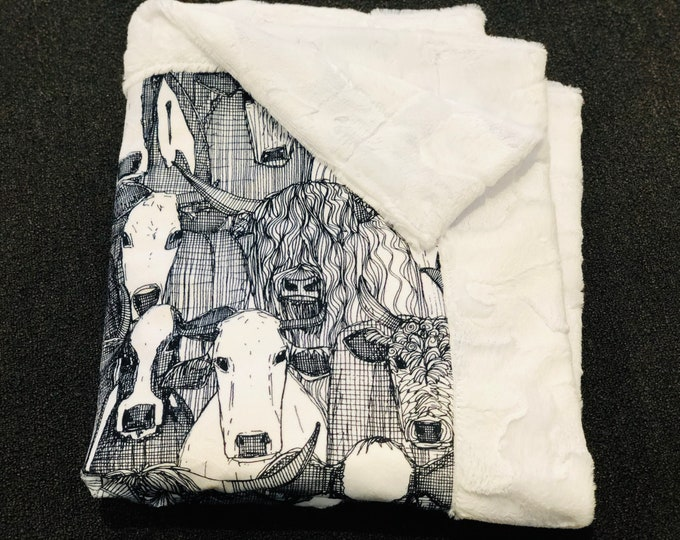"""FREE NAME EMBROIDERY-""""Cattle Heard"""" Minky Blankets & Bedding"""