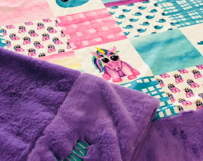 """FREE NAME EMBROIDERY-""""Unicorns and Narhwals Minky Blankets & Bedding"""