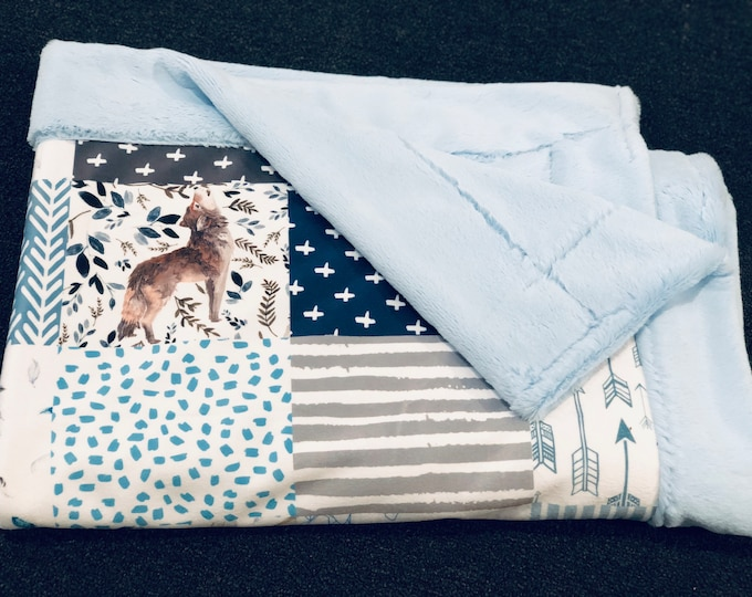 "FREE NAME EMBROIDERY-""Wolf"" Minky Blankets & Bedding"